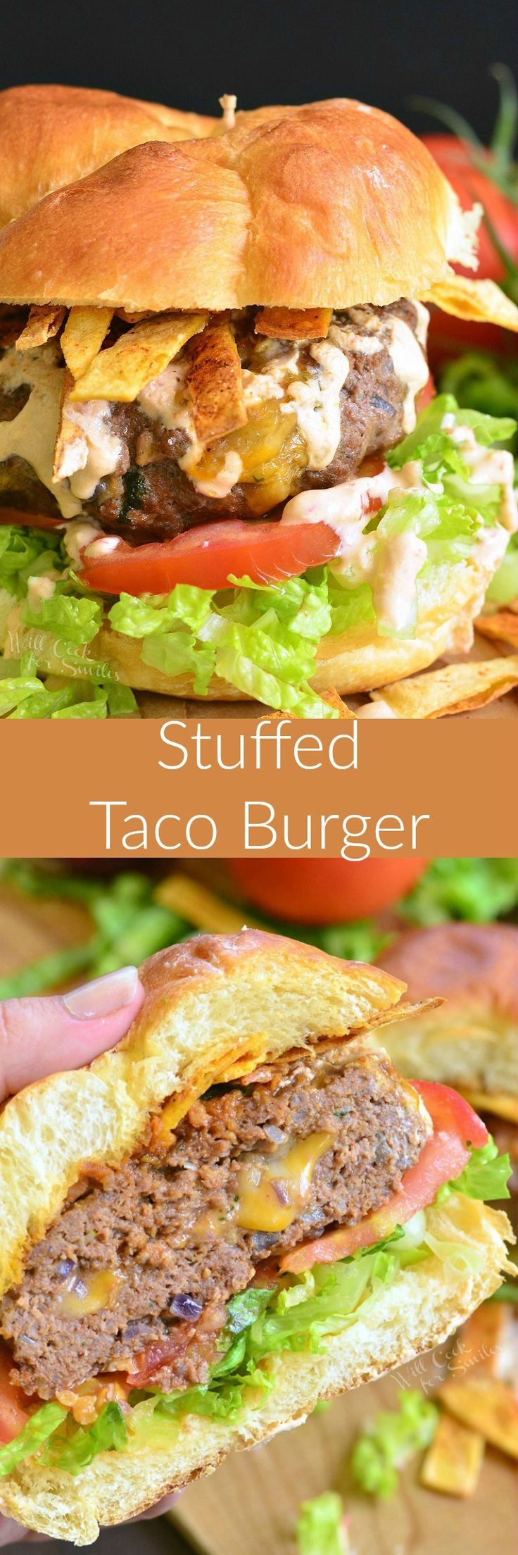 Stuffed Taco Burger. These burgers are stuffed with gooey cheese, packed with taco seasoning, and topped with creamy chili sauce and crispy tortilla strips.
