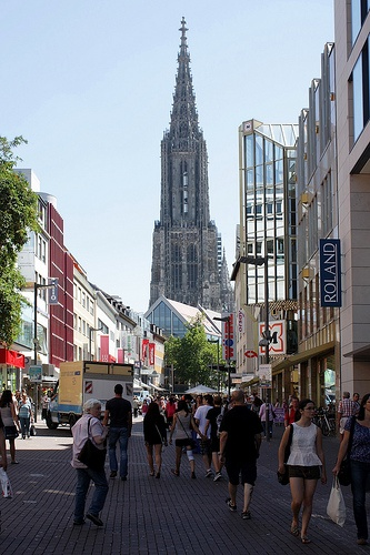 Awesome  Pedestrian zone Ulm with the steeple of the Ulmer M nster Ulm Minster the tallest steeple in the world