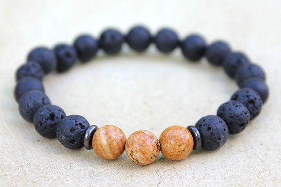 Grounding Mala Bracelet for Men Lava Rock Onyx by DharmaWoods