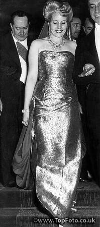 Senora Peron ablaze with diamonds and in evening dress, made a striking figure as she received guests at a reception in Paris. July 1947Peron, [Maria] Eva [Duarte de] (Evita) Argentine actress, dancer, and politician; charismatic leader of Argentina's working poor (los descamisados); 2nd wife of Juan Peron