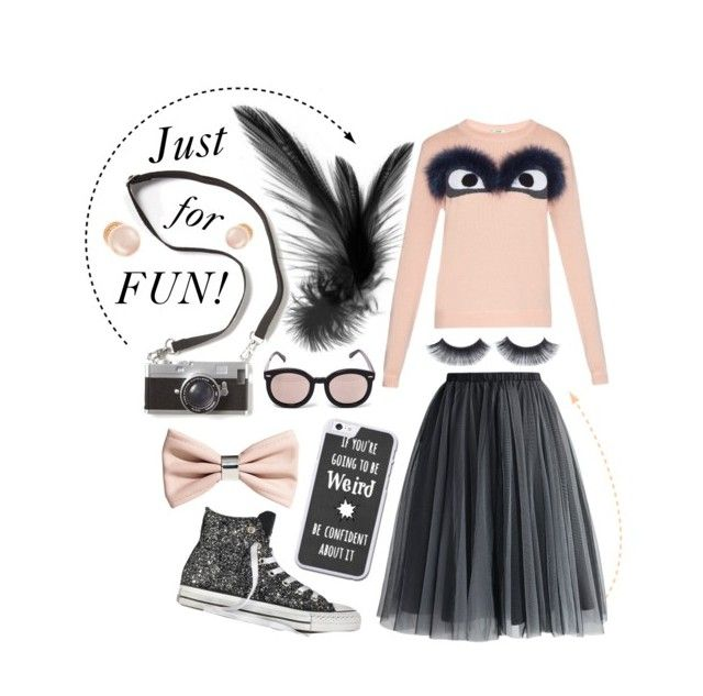 """Just for Fun "" by alzbeta-zlochova on Polyvore featuring Fendi, Converse, Chicwish, H&M, Karen Walker and Kenneth Jay Lane"