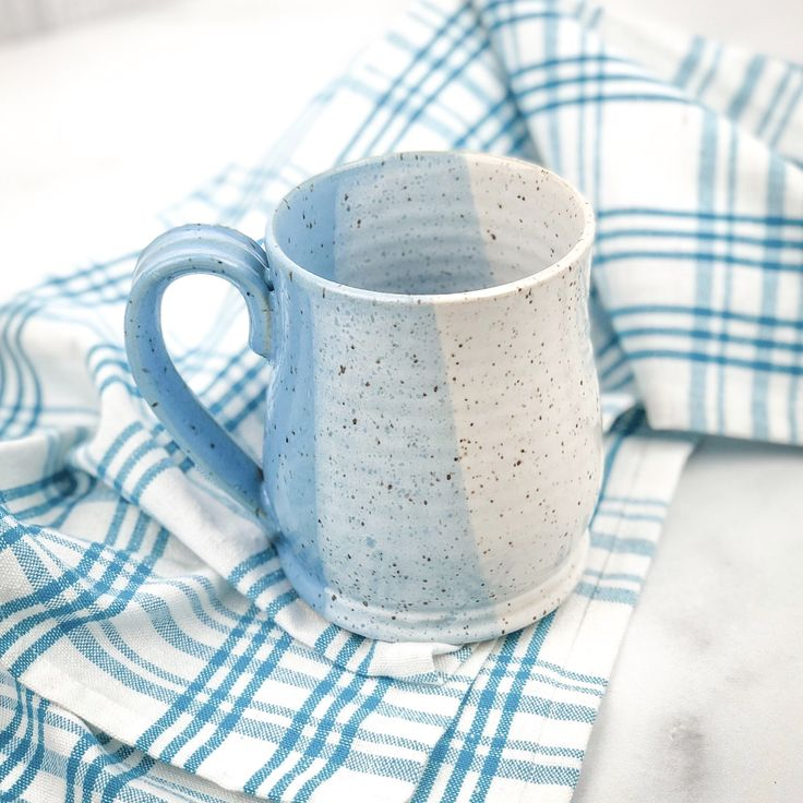 These colorful speckled pottery mugs make cute gifts for coffee and tea lovers and fans of farmhouse decor. They are entirely handmade with sturdy speckled stoneware, hand thrown on the wheel, and fired with glazes that are food, microwave, and dishwasher safe.Size, shape and finish may vary slightly due to the handmade nature of these pieces. Medium-sized mugs hold approximately 12 ounces of fluid. In stock orders ship within 1-2 business days. We do not currently ship internationally. Now…