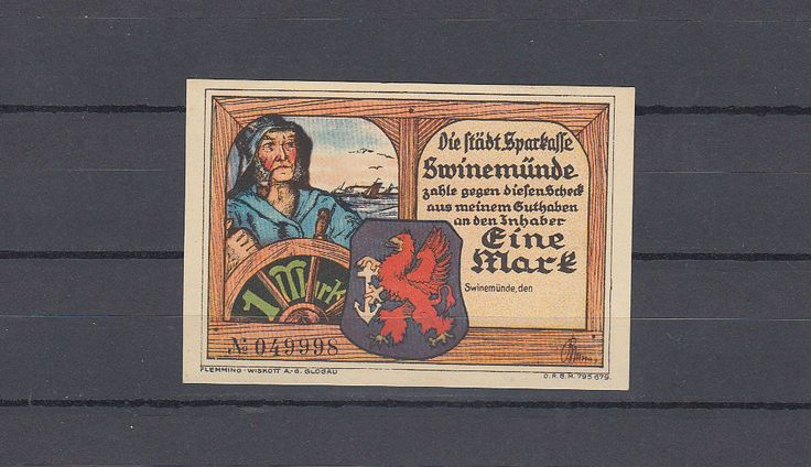 Swinemünde / Pommern , Notgeld , 1 Mark |