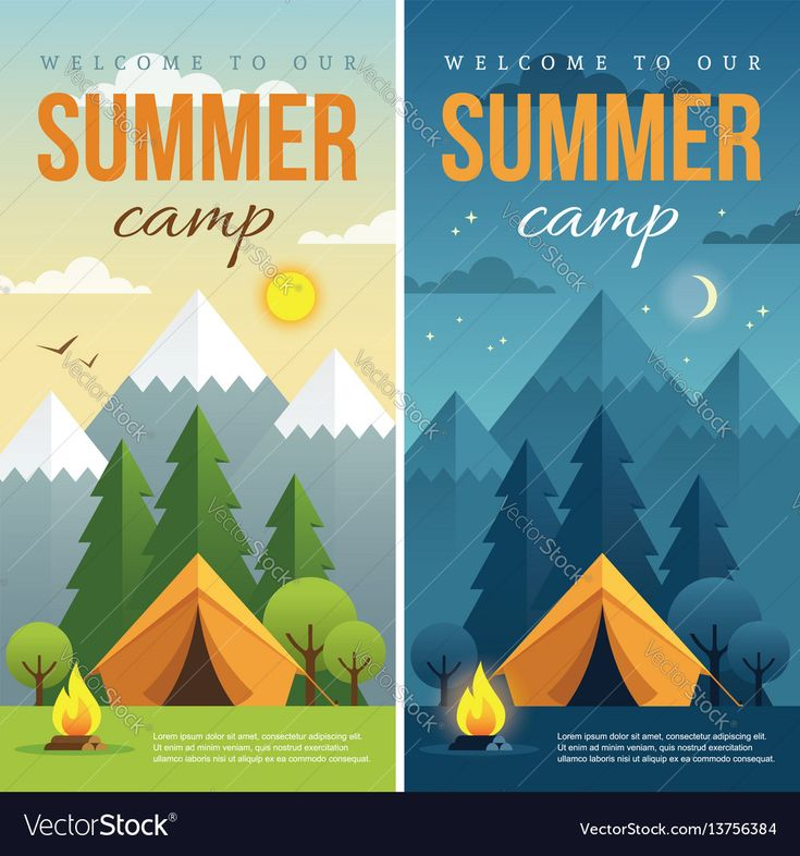 Day and night summer camp banners Royalty Free Vector ...
