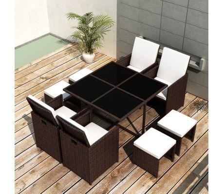 Poly Rattan tuinset met 1 tafel 4 stoelen en 2 krukken (bruin)