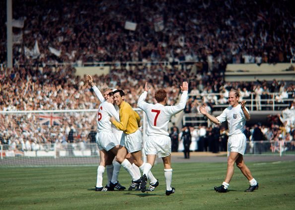 Celebrations for England after Geoff Hurst had scored the winning goal during the FIFA World Cup Quarter Final match between England and Argentina at...