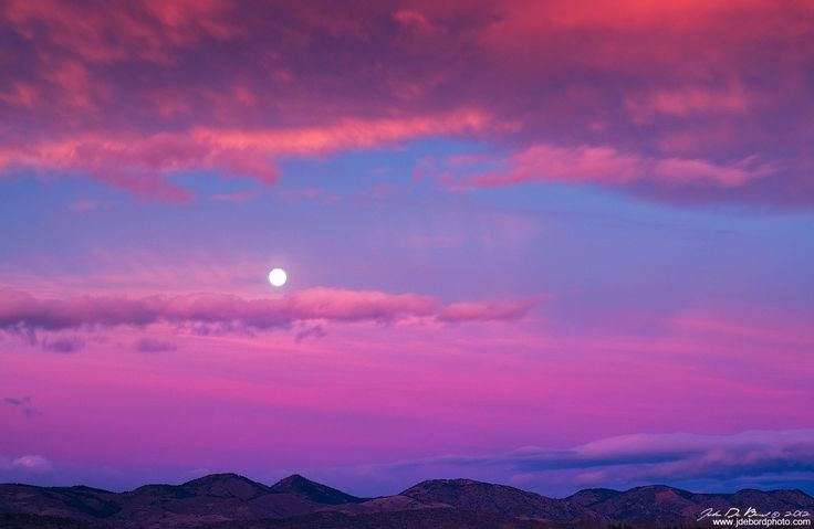 Chatfield State Park, Colorado, USA  Moonset Over The Foothills by kkart