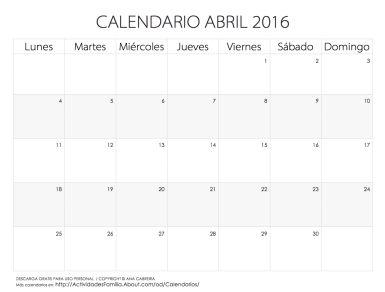 Calendario de celebraciones en Abril 2016: Descarga gratis para uso personal