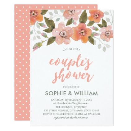 Peach Delicate Floral Couple's Shower Invitation - wedding shower gifts party ideas diy cyo personalize