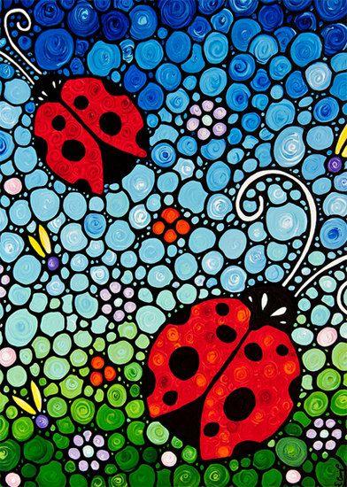 Ladybug arte imprimir de mariquitas de colores de pintura Bugs mariquitas rojas flores Floral lienzo listo para colgar primavera arte diversión Whimsical feliz