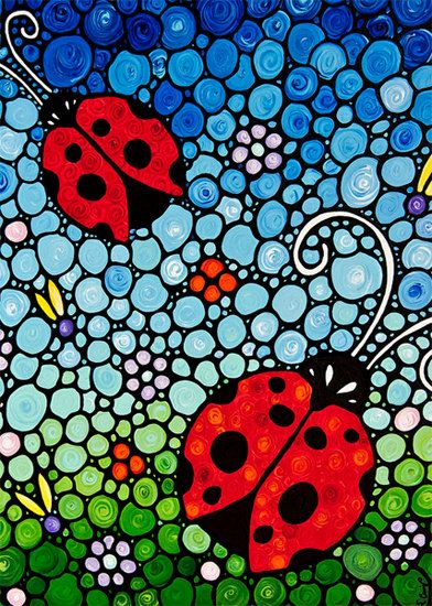 Ladybug Art PRINT from Painting Colorful Ladybugs Bugs Red Lady Bugs Floral Flowers CANVAS Ready To Hang Spring Artwork Fun Whimsical Happy on Etsy, $45.00