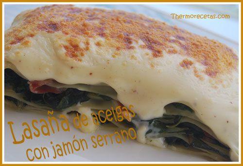 Lasaña de acelgas con jamón, receta thermomix. #lasaña #recetas #thermomix #pasta