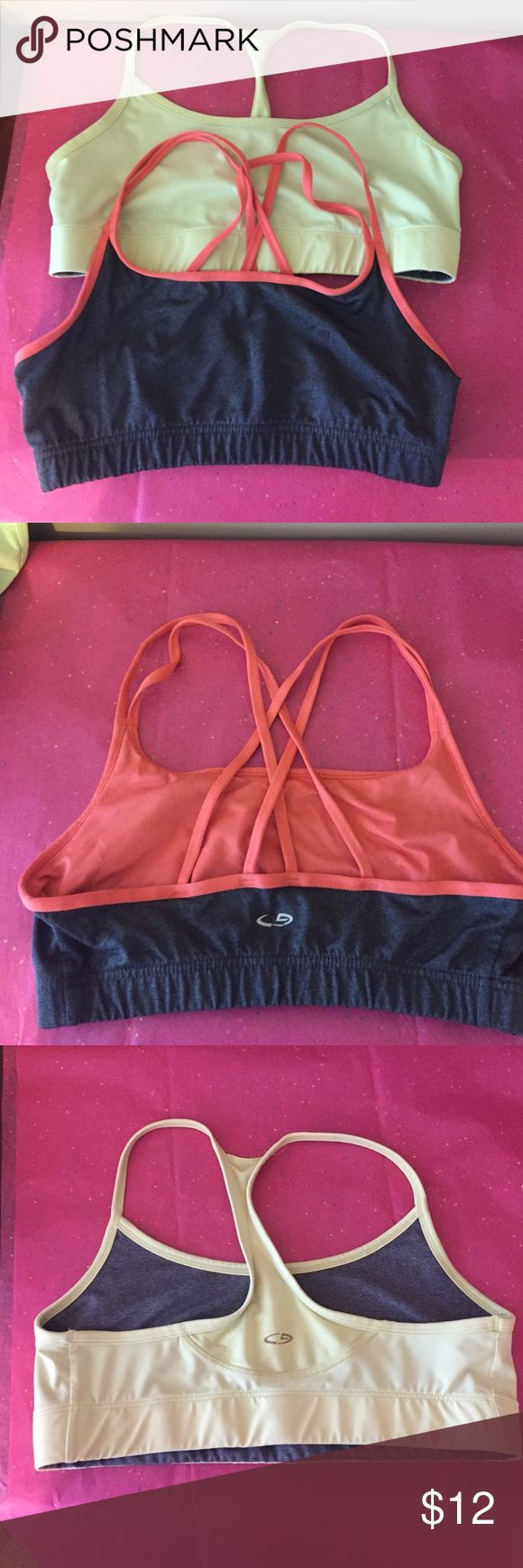 Bundle of two champion sports bras! Small! Bundle of two champion sports bras! Small! One is gray and orange and one is chartreuse and gray and that one is reversible!  Used but good condition! Champion Intimates & Sleepwear Bras