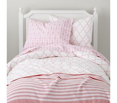 Girls Bedding: Pink Striped Bedding Set