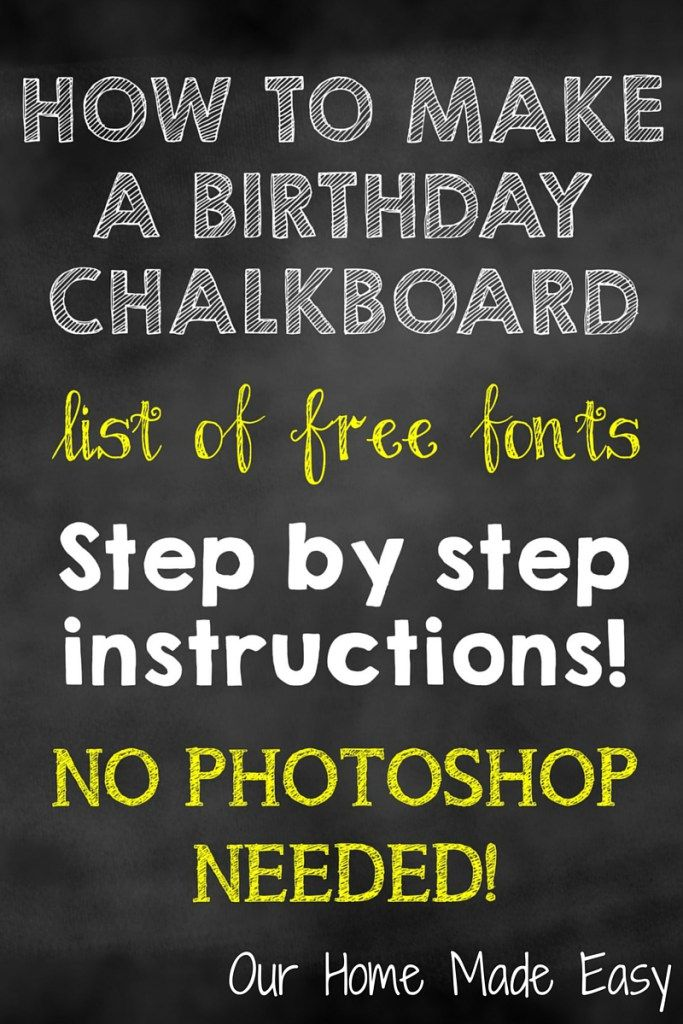 An easy How To in making a birthday chalkboard without using Photoshop! Click to see the directions!