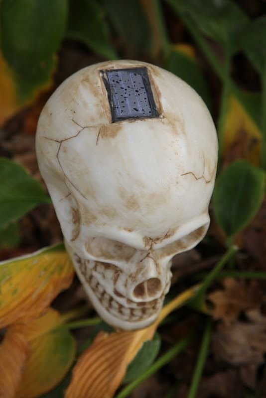 cover solar lights with dollar store skulls - Solar Halloween Decorations