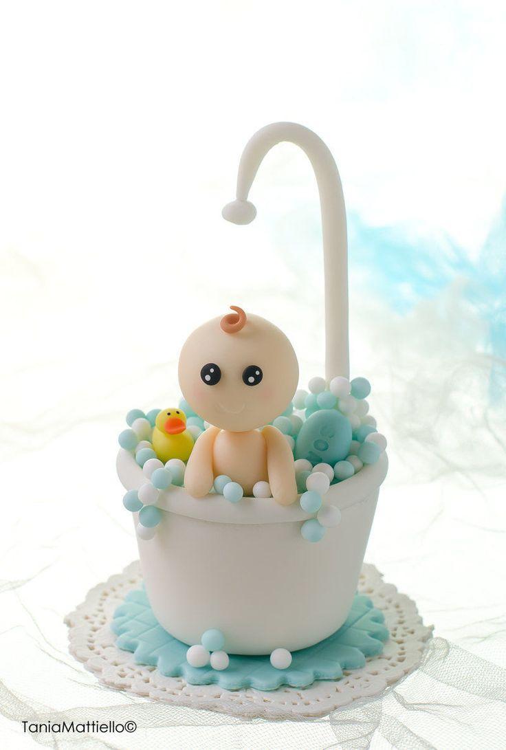 Bimbo in Vasca da Bagno Cake Topper Fatto a Mano in Pasta di Mais, Ideale per Baby Shower, Nascita, Battesimo, Compleanno, Bolle di Sapone di MaisEPoiMais su Etsy