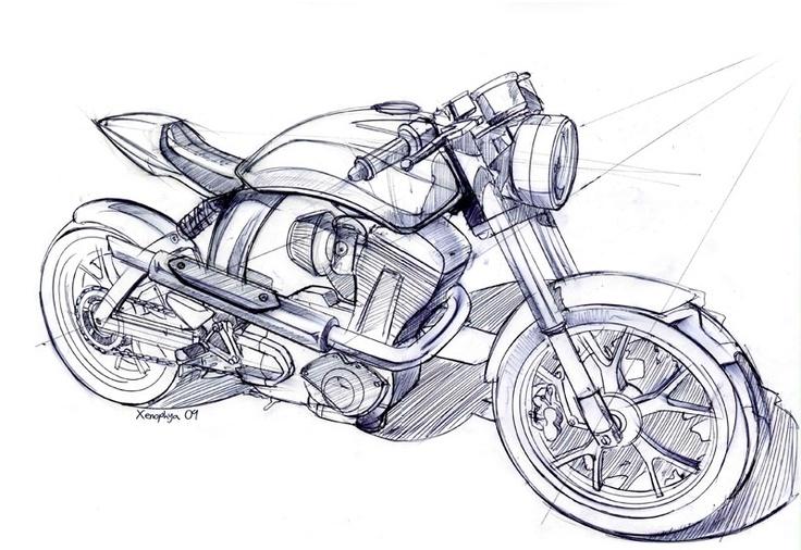 каждой рисунки карандашом черно белые мотоцикла можно найти ребенка