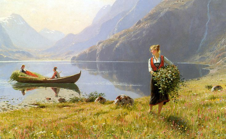 The Athenaeum - Harvesters by the Banks of a Fjord (Hans Dahl - )