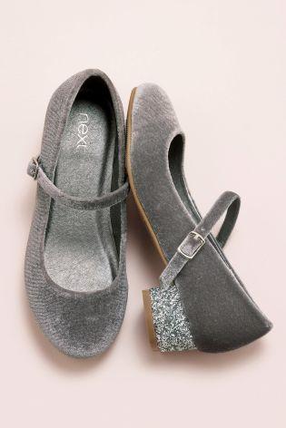 Szary Glitter Heel Mary Jane Shoes (Starsze dziewczynki)