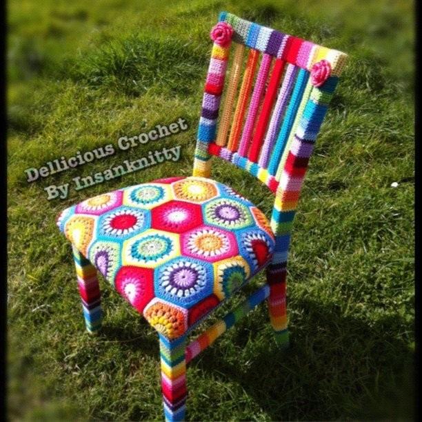 Gorgeous Rainbow Yarn Crochet Chair. Sold AUD $600