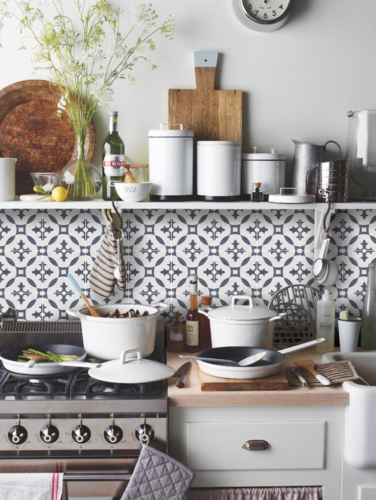 Moroccan Stella Tile Sticker In Charcoal Bathrooms