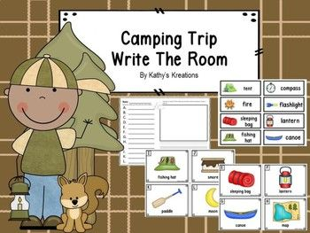 Camping Trip Write The Room With Bonus Word Wall Cards. This write the room has 12 pictures and two recording sheets for your students to write the words they find next to the matching alphabet letter. The second recording sheet has a place to write a sentence using one or