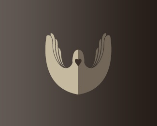 #logo with an icon incorporating hands and a heart forming a dove - designed by Salvador Aguilar Chavez aka xaba