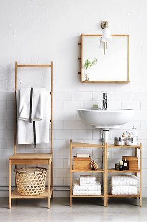 Get natural storage for your bathroom! RÅGRUND series brings some special ideas to help you get organized, like a chair that doubles as a towel rack and the mirror has handy hooks.