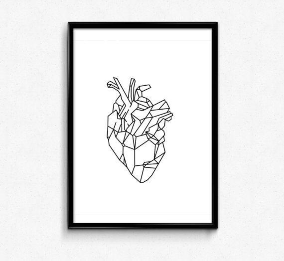 Affiche minimaliste Art géométrique cœur par HamptyDamptyArt