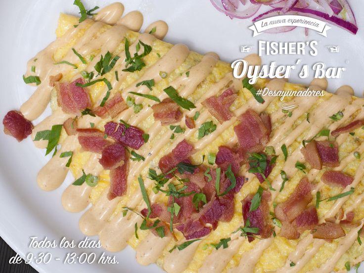 Omelette con tocino. Restaurante Fisher's. Desayunos en Oyster's Bar todos los días de 9:30 a 13:00 #foodporn #desayunadores #food #seafood