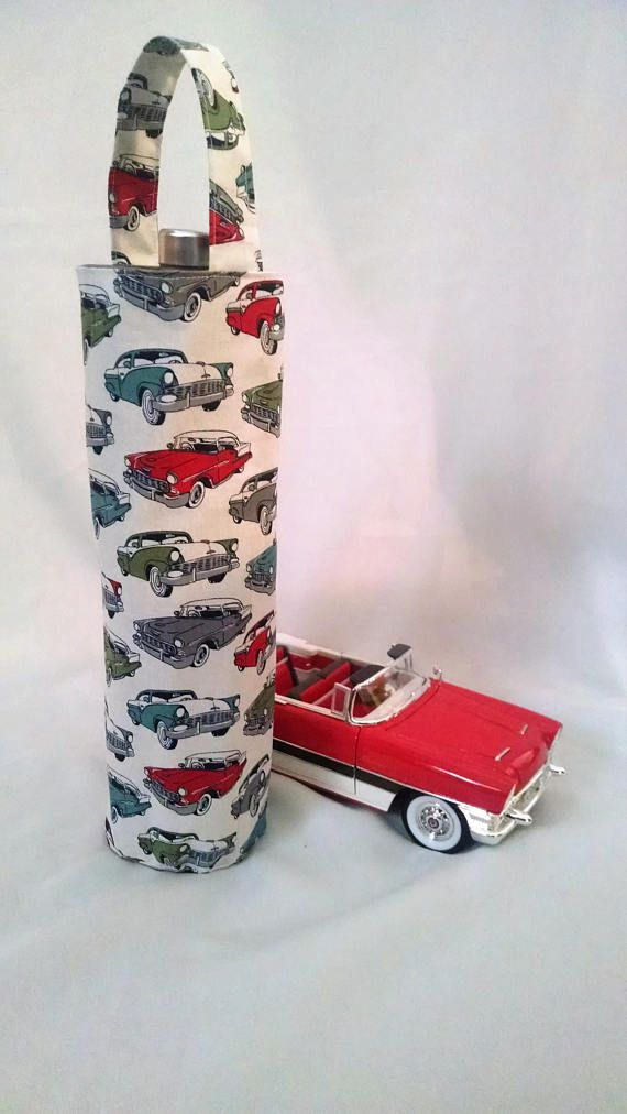 Wine Gift Tote 50s Style Antique Cars Fun Idea For The Car Lover Beverage Carrier Birthday Him Or Her Fathers Day
