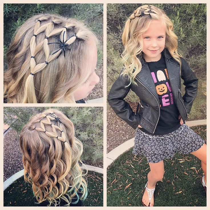 Halloween style !! Super fast and easy spider web! With a few curls! ??? We love Halloween styles and will make some of them over the next few weeks
