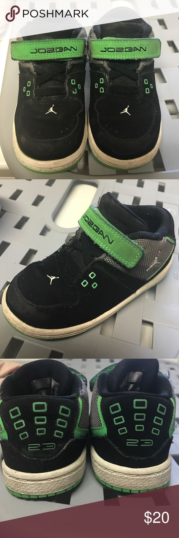 Jordan's Selling these heavily used jordans for kids. They deffinately have some wear to them but they can be used to be in the house, or messy days at the park. The only reason I'm selling them is because they don't fit my son anymore. Open to offers ☺ Jordan Shoes Sneakers