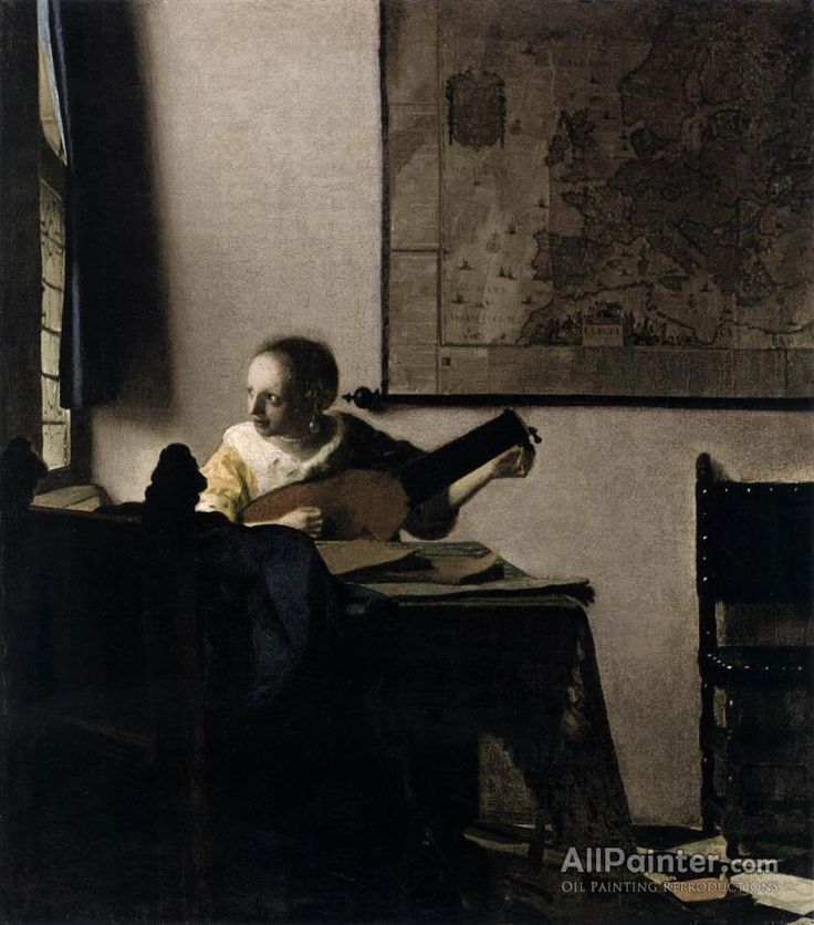 johannes vermeer woman with a lute near a window oil painting reproductions for sale peintures vermeerpeintures lhuilejohannes - Nettoyer Une Peinture A L Huile Encrassee
