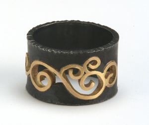 Wrought+Inlay+Ring by Natasha+Wozniak: Silver+&+Gold+Ring available at www.artfulhome.com