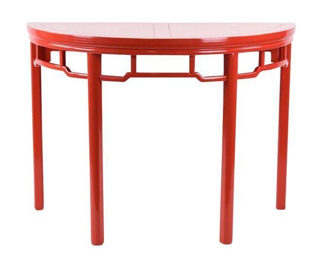 Baker Coral Red Console Table on Chairish.com