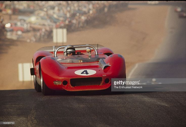 Times Grand Prix - Riverside. Driver and founder of McLaren racing, Bruce McLaren drives his Oldsmobile powered McLaren Elva Mk. 2 to a third place finish.