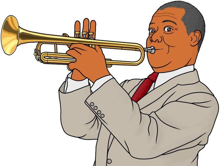 管楽器:トランペットを演奏するルイ・アームストロング(trumpet , Louis Armstrong)