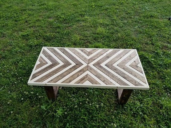 Chevron coffee table rustic coffee table farmhouse furniture