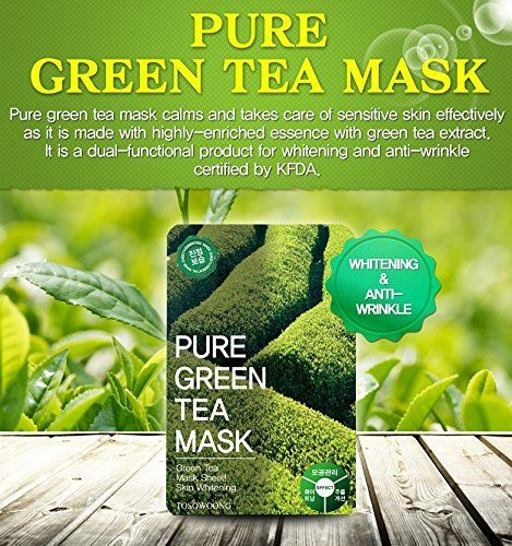TOSOWOONG Pure green tea mask pack 23g 10 sheets  Health  Beauty  Skin Care  Moisturizers  Mask sheet  mask  korean beauty cosmetic *** ON SALE Check it Out