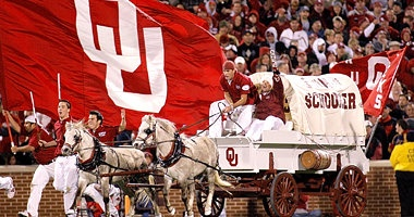 The Sooner Schooner is a conestoga (covered wagon) reminiscent of the mode of travel used by pioneers who settled Oklahoma Territory around the time of the 1889 Land Run.