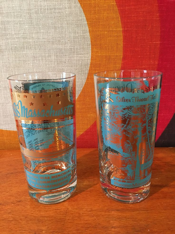 Vintage Turquoise and Gold Cocktail Glasses, Set of 2, Souvenir Glassware, USS Massachusetts and Pocono Mountains, Mid Century Barware by CapeCodModern on Etsy
