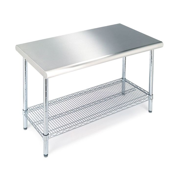 Add a safe, durable and a heavy-duty work surface to your home or garage with this Seville NSF certified stainless steel work table. Chrome-plated steel legs with leveling feet and wheels are included for easy mobility.