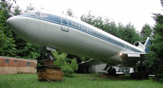 Portland plane home-Bruce Campbell bought this Boeing 727 for $100,000 to convert into a home on his property outside of Portland, Ore. The plane provides 1,066 square feet of living space.