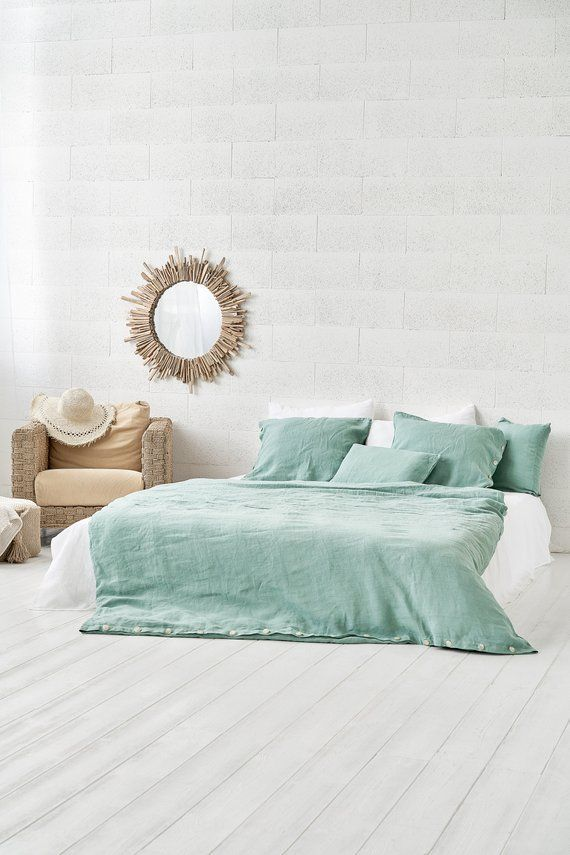 Mint Green Linen Duvet Cover Linen Quilt Cover Duvet Cover Linen Throw Linen Home Textile Linen Bedding Pure Linen Sheet Mint Green Contemporary Bed Bedding Sets Turquoise Duvet Cover