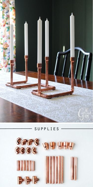 DIY Copper Pipe Candalabra Tutorial from The Gathered Home. I really like the look of hardware DIYs whether jewelry or home decor. I think hardware adds an industrial edge to DIYs. This DIY does require a pipe cutter (cheap) if your local hardware store won't cut the pieces. Here is a DIY Minimalist Copper Wire Candlestick from A Merry Mishap that you can cut with scissors. Another option are these DIY twisted copper pipe candlesticks from DIY roomilicious. Or for an even more ...