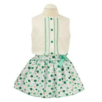 Conjunto de niña de falda y blusa familia topitos, moda infantil. #modaminis #modainfantilespañola #ropainfantil #ventaonline #kidsfashion #modaniños