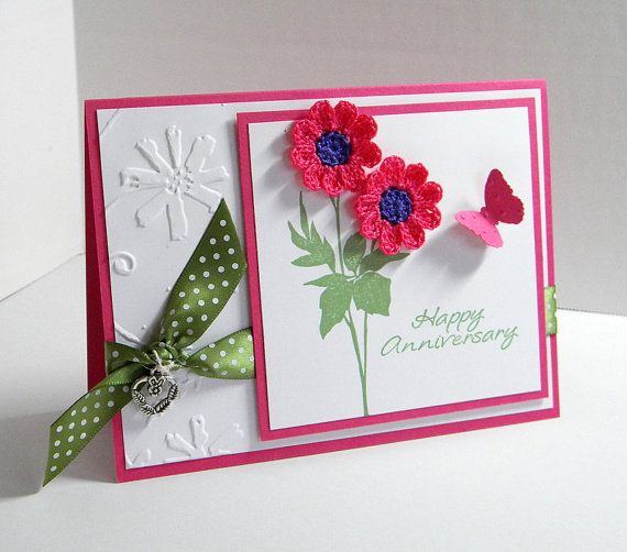 Anniversary Greeting Card  Handmade Greeting by UniqueGreetings, 5.75