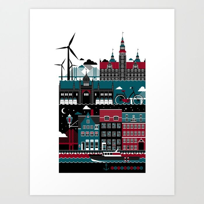 Buy Copenhagen Art Print by koivo. Worldwide shipping available at Society6.com. Just one of millions of high quality products available.
